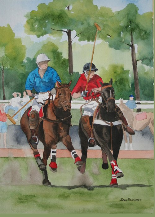 Polo Greeting Card featuring the painting Polo In The Afternoon 2 by Jean Blackmer