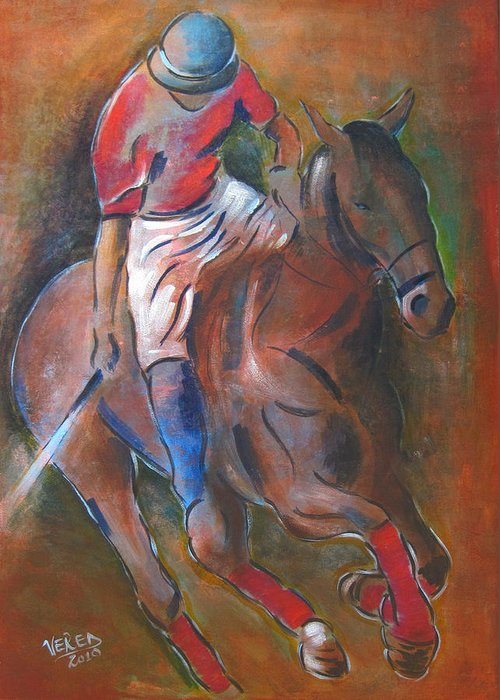 Polo Greeting Card featuring the painting Polo Player by Vered Thalmeier