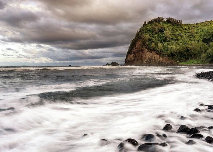 Hawaii Greeting Card featuring the photograph Pololu Whitewash by Christopher Johnson