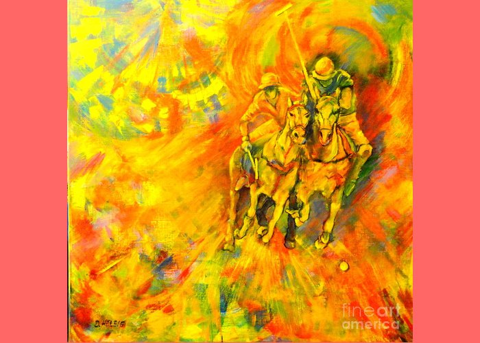 Horses Greeting Card featuring the painting Poloplayer by Dagmar Helbig