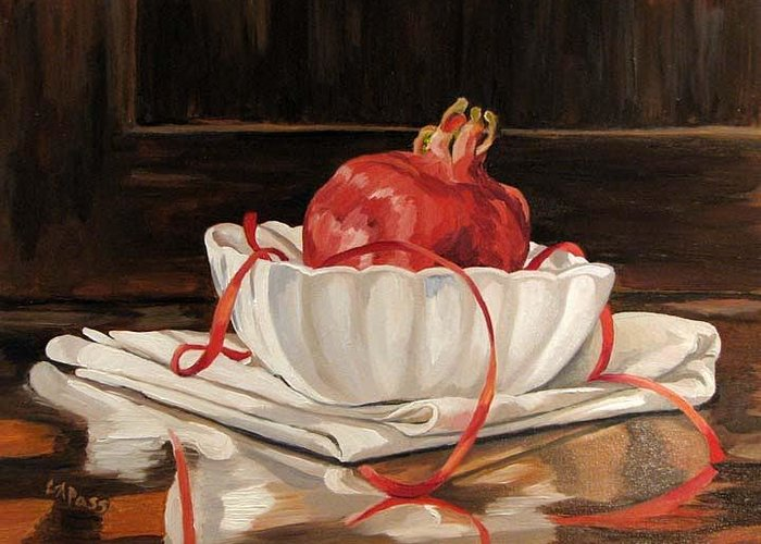 Pomegranate Greeting Card featuring the painting Pomegranate In White by Cheryl Pass