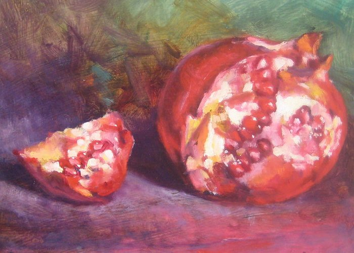 Still Life Greeting Card featuring the painting Pomegranate by Susan Jenkins