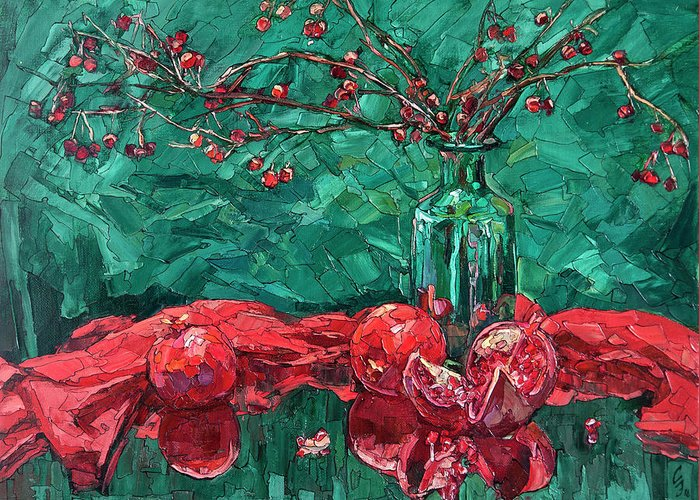 Still Life Greeting Card featuring the painting Pomegranates And Crabapples by Sergey Sovkov