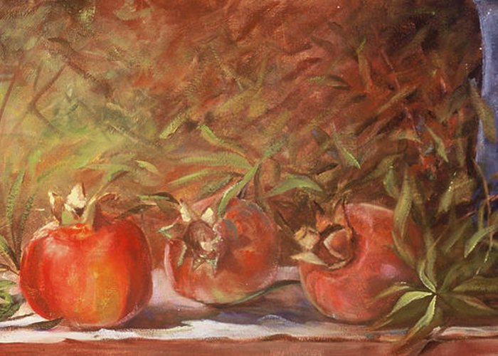 Still Life Greeting Card featuring the painting Pomegranates by Jimmie Trotter