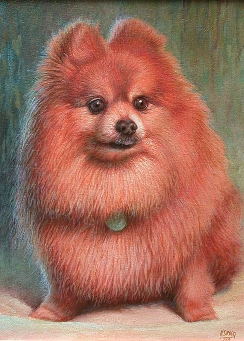 Dog Greeting Card featuring the painting Pomeranian Dog by Hans Droog