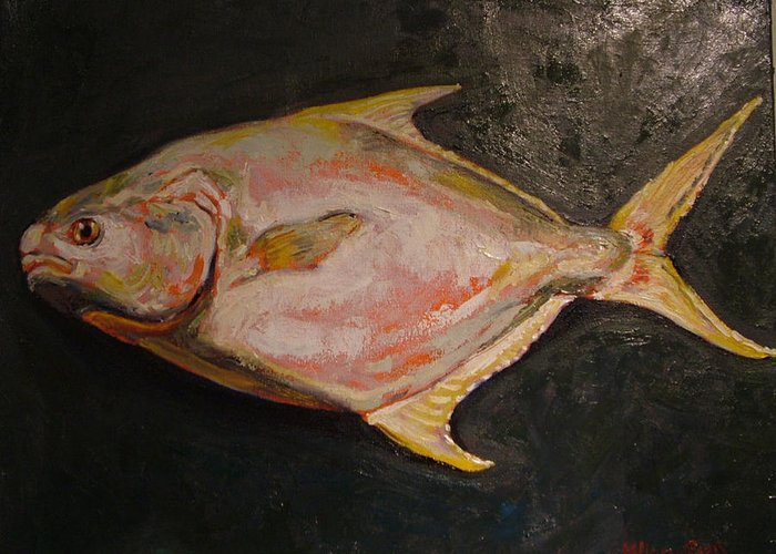 Seafood Greeting Card featuring the painting Pompano Fish by Hillary Gross