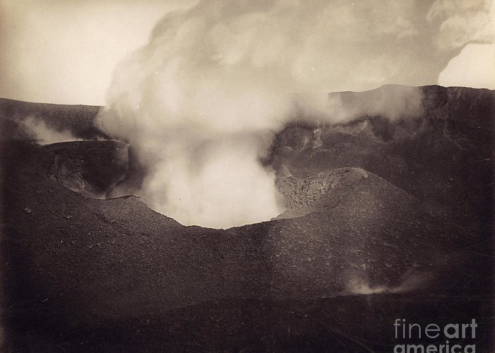 1888 Greeting Card featuring the photograph Pompeii: Vesuvius Crater by Granger