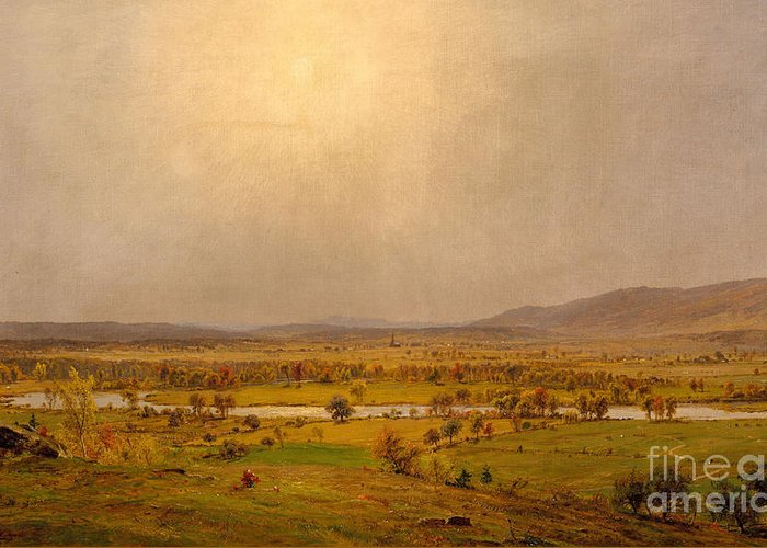 Pompton Plains Greeting Card featuring the painting Pompton Plains, New Jersey, 1867 by Jasper Francis Cropsey