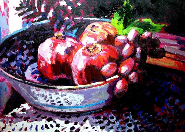 Still Life Paintings Greeting Card featuring the painting Poms In A Bowl by Brian Simons