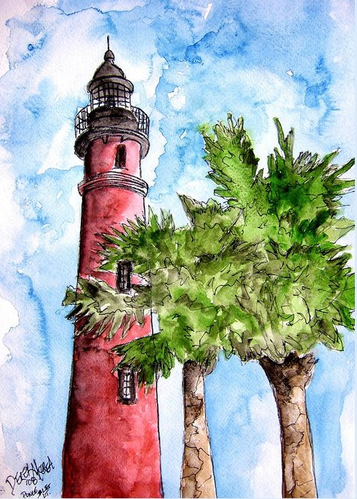 Ponce De Leon Greeting Card featuring the painting Ponce De Leon Inlet Florida Lighthouse Art by Derek Mccrea