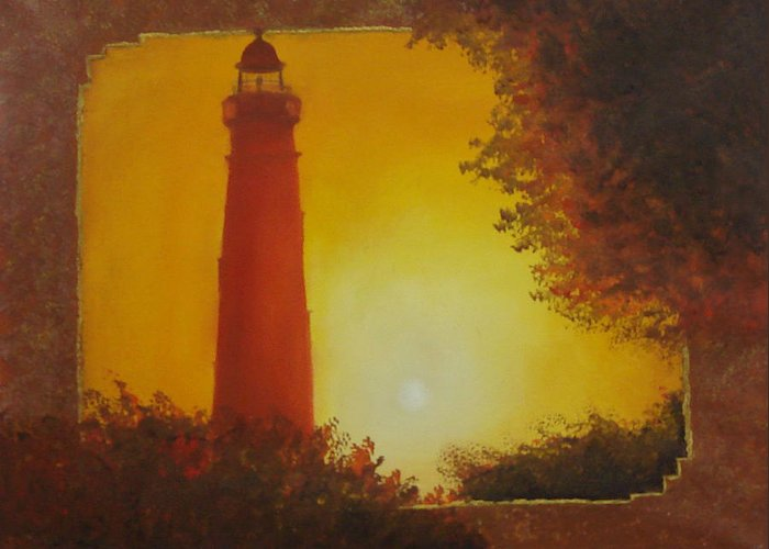 Lighthouse Greeting Card featuring the painting Ponce Inlet Lighthouse by Darlene Green