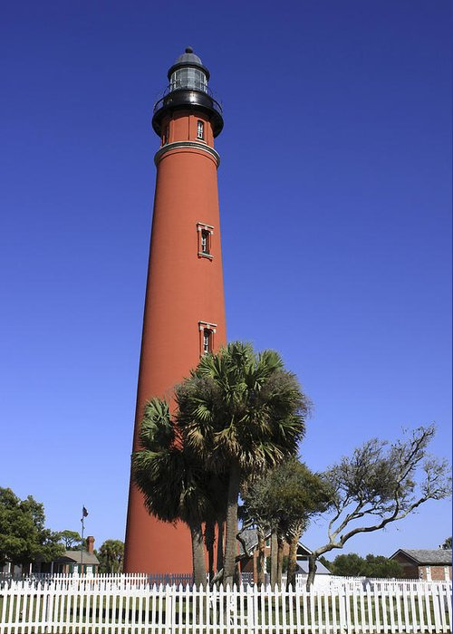 Florida Greeting Card featuring the photograph Ponce Inlet Lighthouse by Deborah Benoit