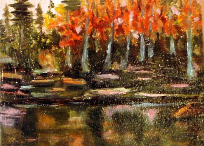 Fall Greeting Card featuring the painting Pond 1 by Lia Marsman