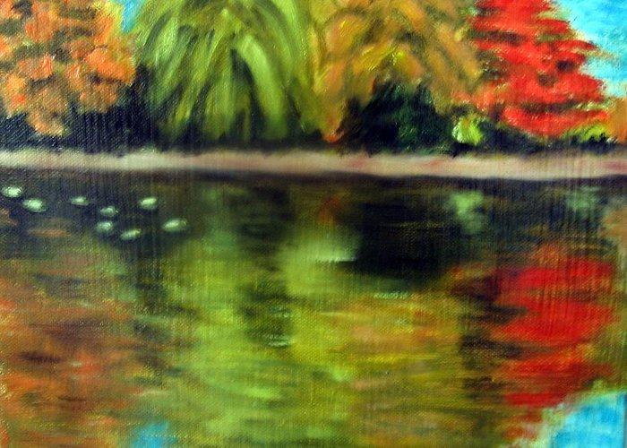 Fall Greeting Card featuring the painting Pond 2 by Lia Marsman