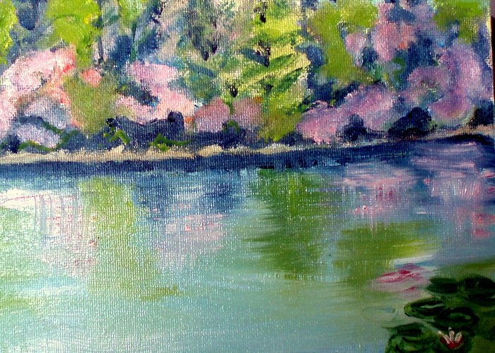 Water Greeting Card featuring the painting Pond 3 by Lia Marsman