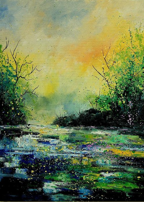 Water Greeting Card featuring the painting Pond 459060 by Pol Ledent