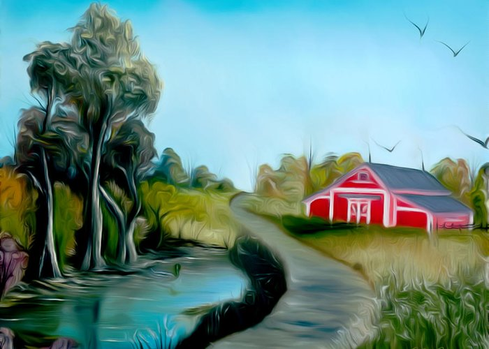 Pond Greeting Card featuring the painting Pond By The Red Barn Dreamy Mirage by Claude Beaulac