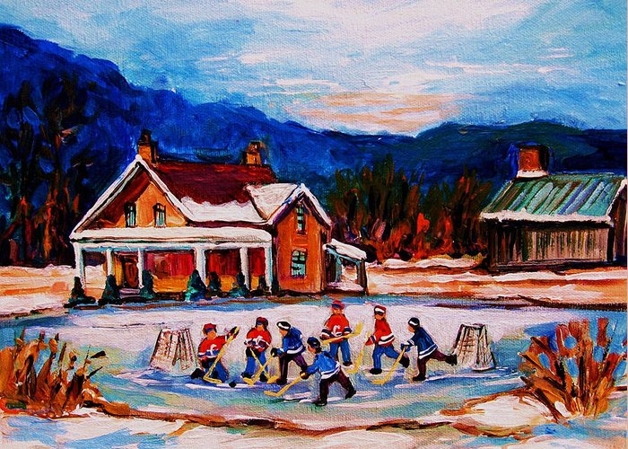 Hockey Greeting Card featuring the painting Pond Hockey by Carole Spandau