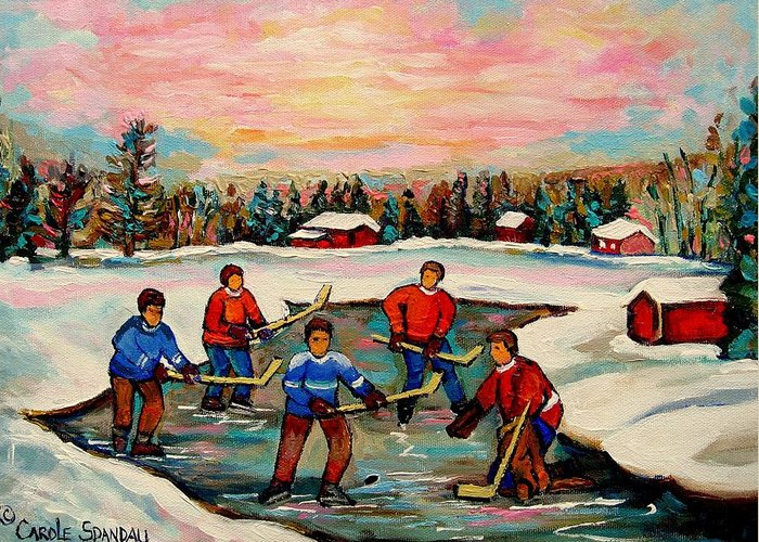 Montreal Greeting Card featuring the painting Pond Hockey Countryscene by Carole Spandau