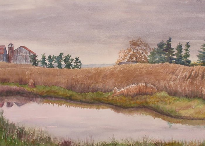 Farm Greeting Card featuring the painting Pond Magic by Debbie Homewood