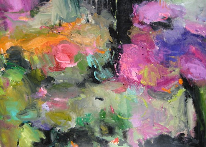 Abstract Greeting Card featuring the painting Pond by Susan Jenkins