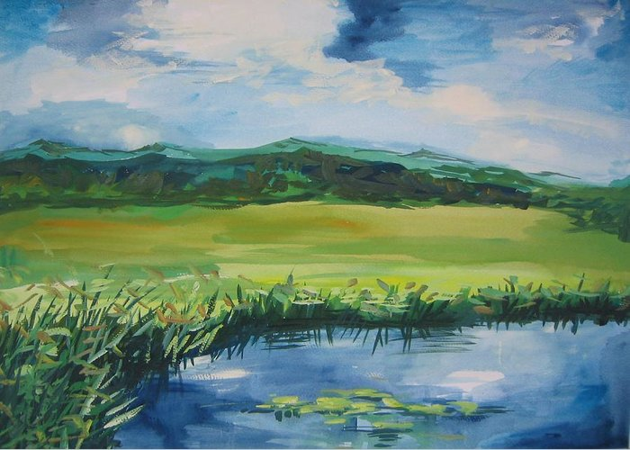 Pond Greeting Card featuring the painting Pond Valley by Min Wang