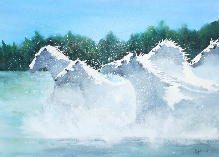 Horse Greeting Card featuring the painting Splash 2 by Ally Benbrook
