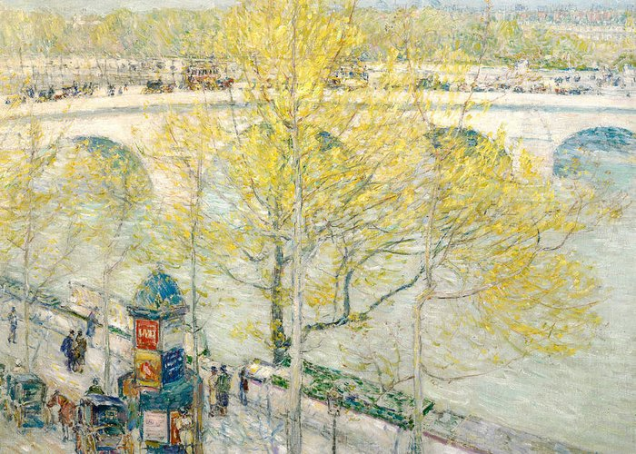 Pont Royal Greeting Card featuring the painting Pont Royal Paris by Childe Hassam
