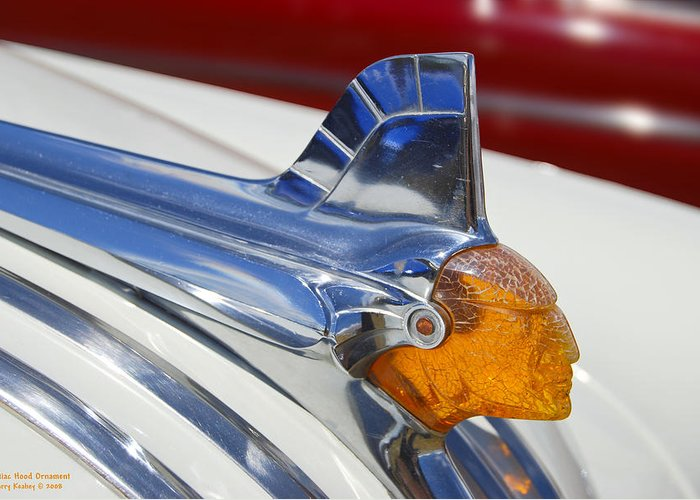 Pontiac Greeting Card featuring the photograph Pontiac Hood Ornament by Larry Keahey