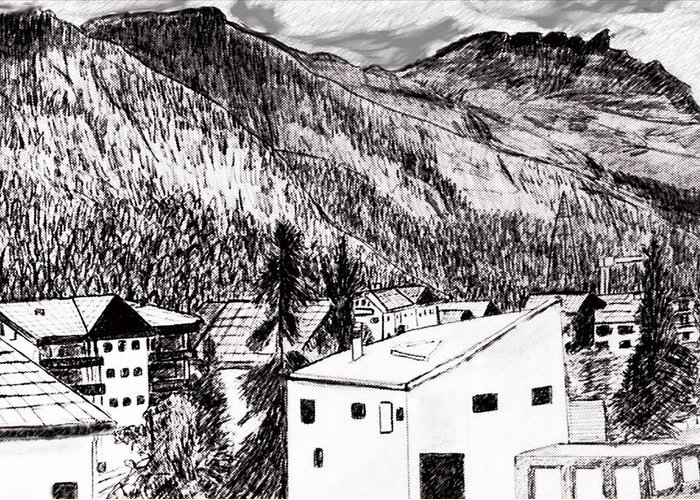 Switzerland Greeting Card featuring the drawing Pontresina Black And White by Monica Engeler