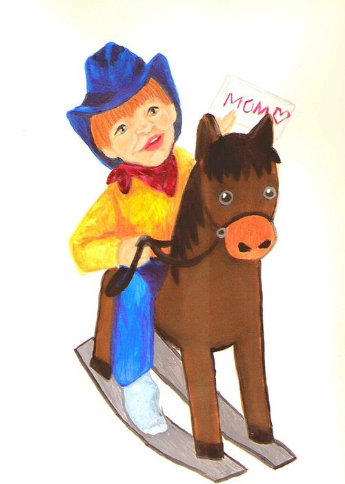 Cute Greeting Card featuring the painting Pony Express by Jeanette Lindblad