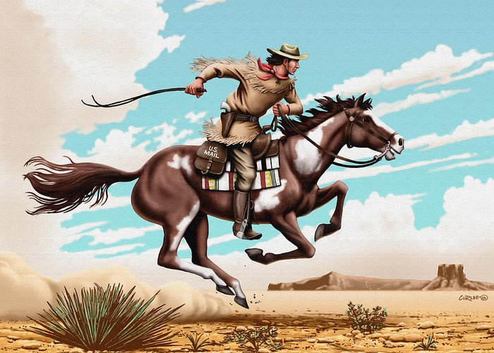 Pony Express Rider Greeting Card featuring the painting Pony Express Rider Historical Americana Painting Desert Scene by Walt Curlee