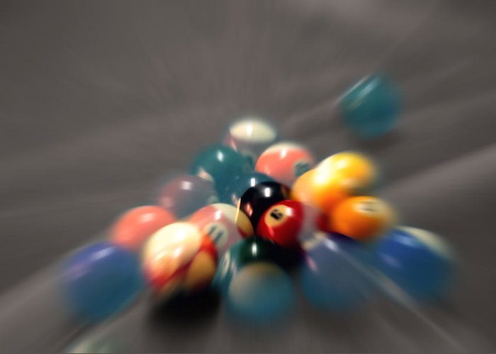Pool Balls Greeting Card featuring the photograph Pool Ball Break 2 by Steve Ohlsen