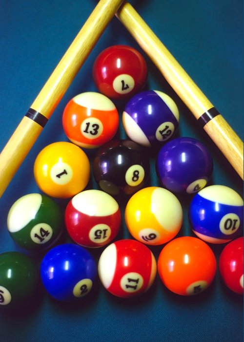 Pool Greeting Card featuring the photograph Pool Balls And Cue Sticks by Steve Ohlsen