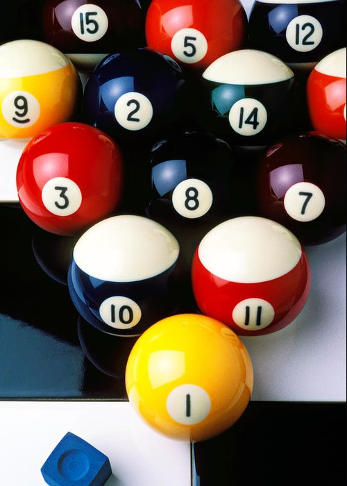 Pool Balls Greeting Card featuring the photograph Pool Balls On Tiles by Garry Gay