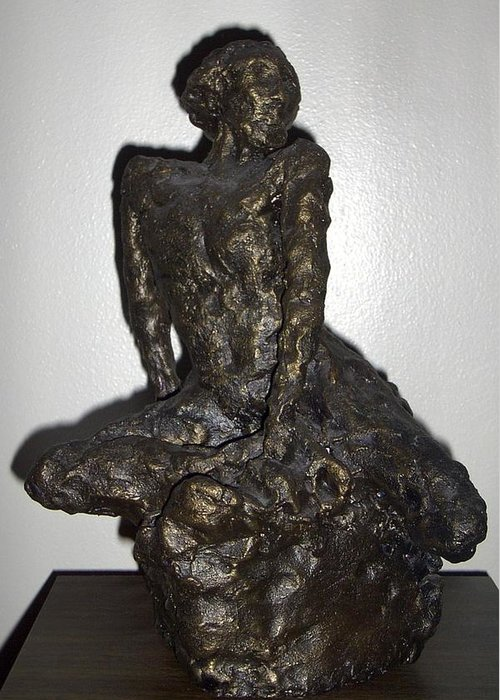 Figure Sculpture Seated Man Greeting Card featuring the sculpture Poor Warrior by Sally Van Driest