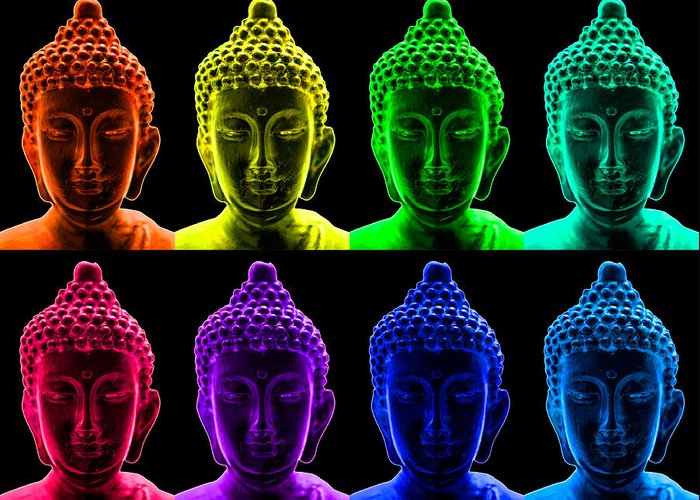 Pop Art Greeting Card featuring the photograph Pop Art Buddha by Fabrizio Troiani
