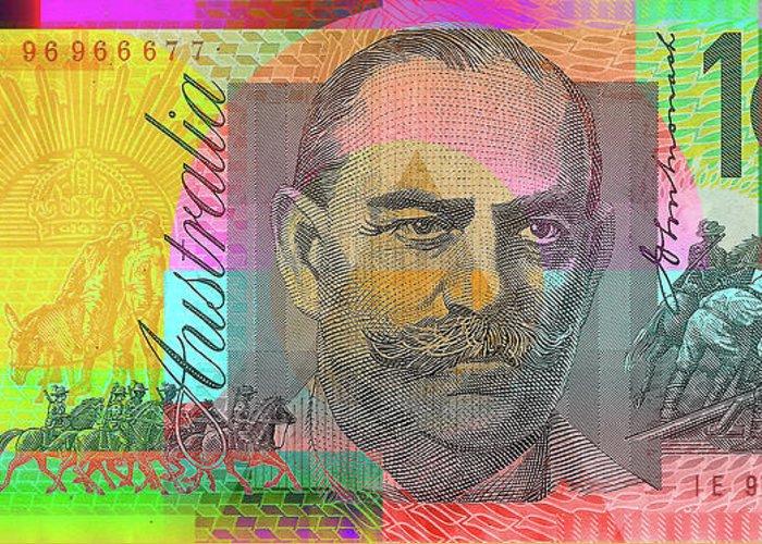 Pop Art Colorized One Hundred Australian Dollar Bill Greeting Card
