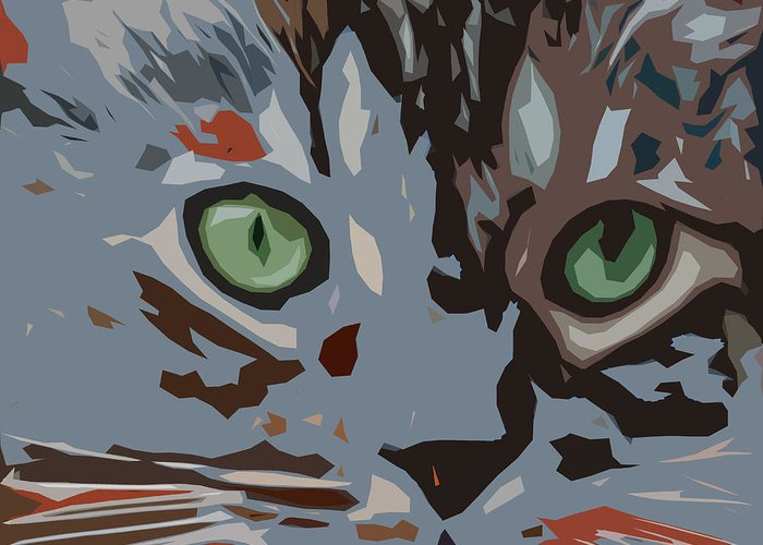 Cat Greeting Card featuring the digital art Purrfection by David G Paul
