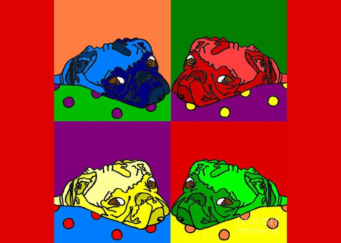 Greeting Card featuring the digital art Pop Art Pug by Purely Pugs Design