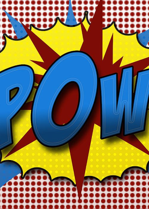 Comic Greeting Card featuring the digital art Pop Pow by Suzanne Barber