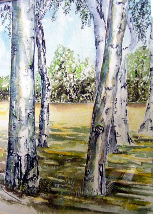 Poplar Greeting Card featuring the painting Poplar Tree  by Paul Sandilands