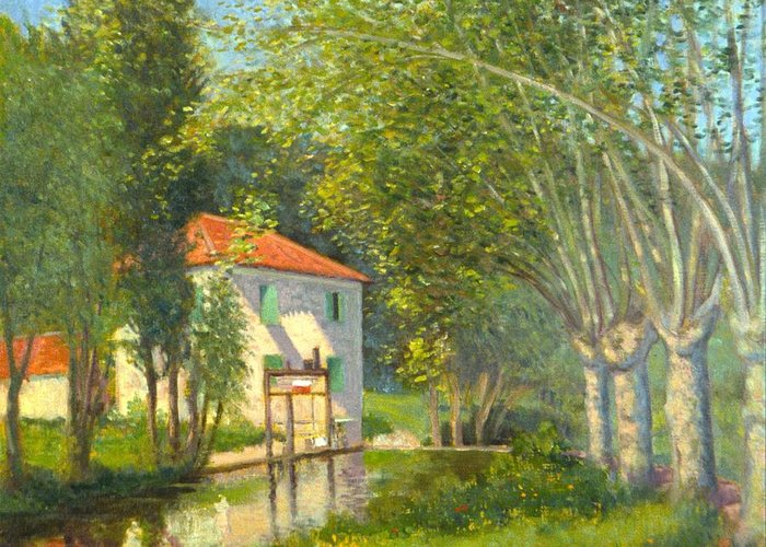 Impression Poplars Gascony France Greeting Card featuring the painting Poplars And Stream Gascony France by David Olander