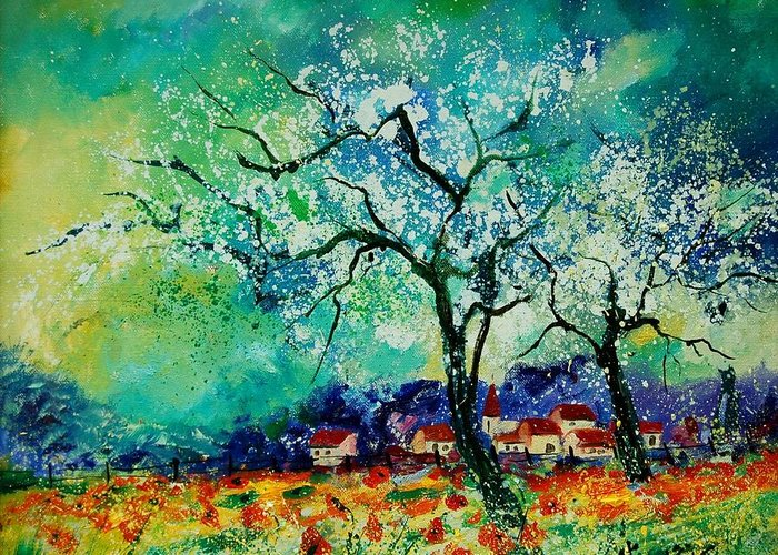 Landscape Greeting Card featuring the painting Poppies And Appletrees In Blossom by Pol Ledent