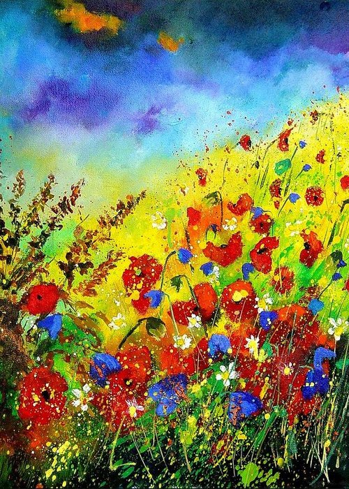 Poppies Greeting Card featuring the print Poppies And Blue Bells by Pol Ledent