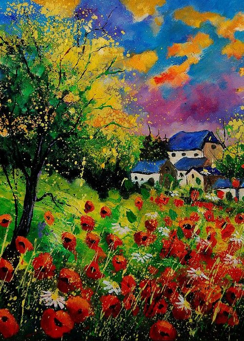 Landscape Greeting Card featuring the painting Poppies And Daisies 560110 by Pol Ledent