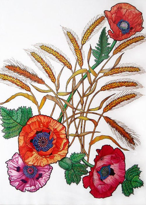 Poppies Greeting Card featuring the painting Poppies And Wheat by Vlasta Smola