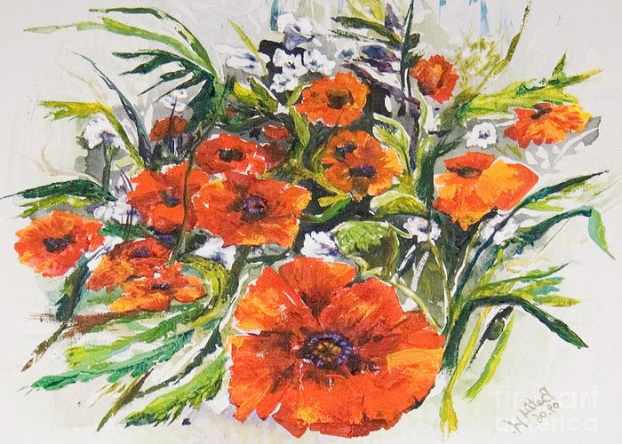 Acrylic Greeting Card featuring the painting Poppies And Wildflowers by Elisabeta Hermann