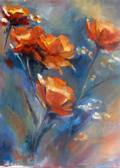 Original Oil Painting On Canvas. Still Life.flower. Poppies Greeting Card featuring the painting Poppies by Bin Feng