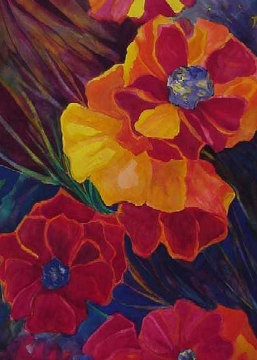 Flowers Greeting Card featuring the painting Poppies by Carolyn LeGrand